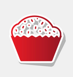 Cupcake sign new year reddish icon with vector