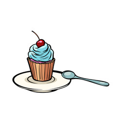 cupcake with a dessert spoon vector image