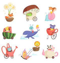 cute baanimals in transport set fox crocodile vector image