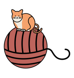 Cute cat mascot with wool ball toy vector