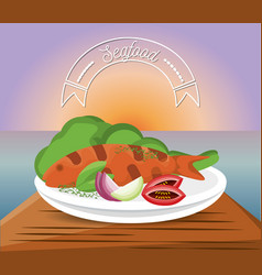 Delicious grilled fish menu restaurant vector