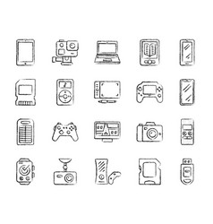Device charcoal draw line icons set vector