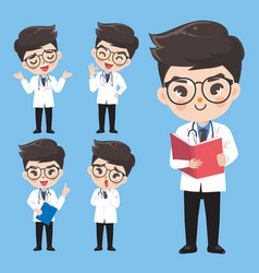 Doctor show a variety gestures and actions in vector