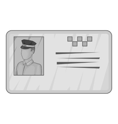 Document taxi driver icon gray monochrome style vector