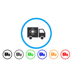 drone delivery van rounded icon vector image