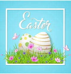 Easter card with eggs and cosmos flowers vector image