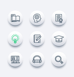Education learning icons set in linear style vector