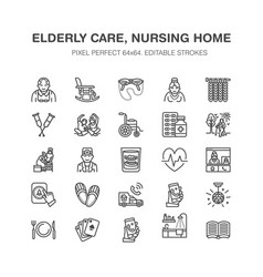 Elderly care flat line icons nursing home vector