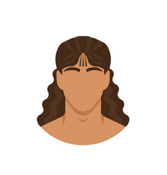 face man with long curly hair vector image