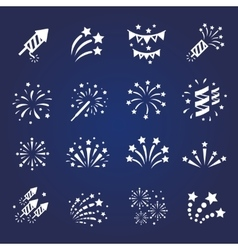 Firework white icon set with burst vector image