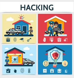 Flat house security system hacking concept vector