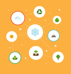 flat icons sprout eco energy foliage and other vector image