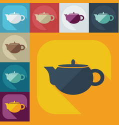 Flat modern design with shadow icons kettle vector