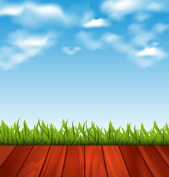 Freshness spring green grass and wood floor vector