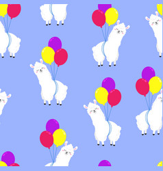 funny cartoon pattern with cute llamas vector image