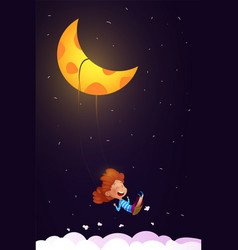 girl riding a swing in night vector image