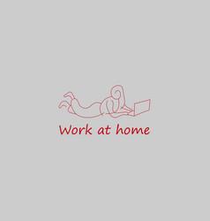 girl work at home symbol logo vector image