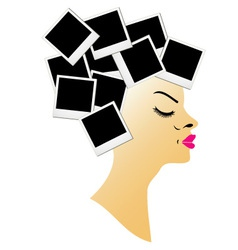 hairstyle with blank polaroids vector image