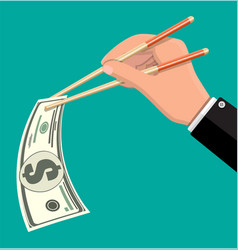 hand businessman with chopsticks with dollar vector image