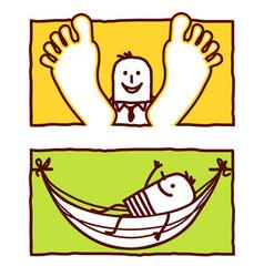 hand drawn cartoon characters - relax hammock vector image