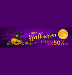 happy halloween for sale banner pumpkin vector image