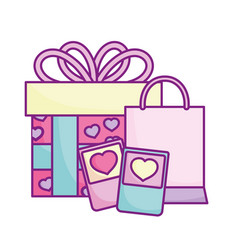 Happy valentines day smartphone shopping bag and vector
