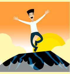happyman jumping on the rocks vector image