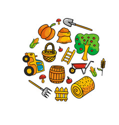 harvesting icons set vector image