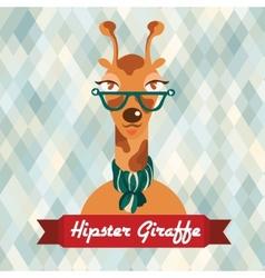 Hipster giraffe poster vector image