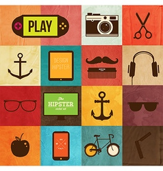 Hipster icon set vector