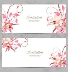 invitation cards with a pink lily for your design vector image