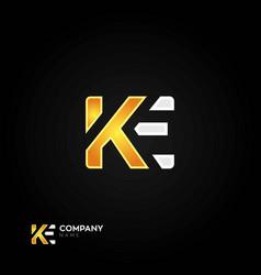 Ke letters logo black background vector