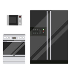 Kitchen appliances microwave fridge and stove vector