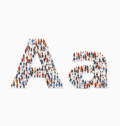 Large group people in letter a form vector