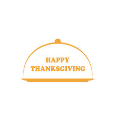 Lettered phrase happy thanksgiving with platter vector