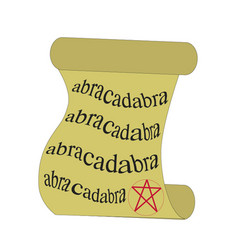 magic scroll with pentagram and abracadabra vector image