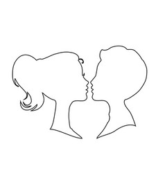 man and woman contour outline silhouettes on vector image