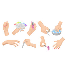 manicure procedure set with women s hands nail vector image