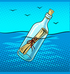 Message in bottle pop art vector