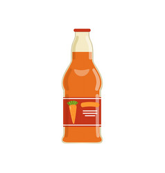 natural carrot juice in glass bottle with brand vector image