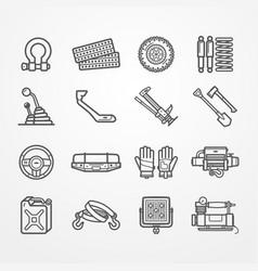 Off-road and overland car equipment set vector