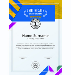 official white certificate with blue yellow design vector image