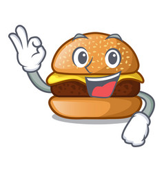 Okay cheese tasty burger on character table vector