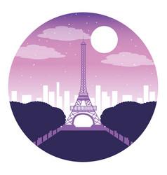 paris eiffel tower city night moon vector image