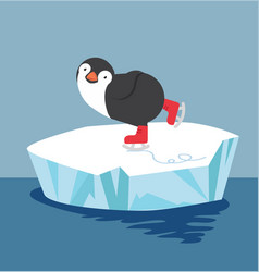 penguin doing ice skating on ice floe vector image
