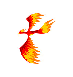 phoenix flaming firebird flying vector image