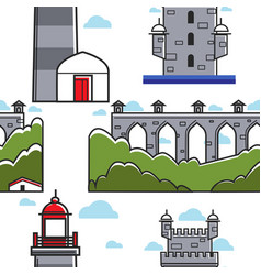 portugal bridge and brick tower lighthouse vector image
