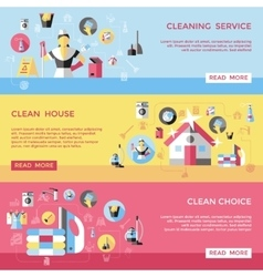 Professional Cleaning Horizontal Banners Set vector