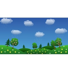 Rain sky background with green grass and flowers vector
