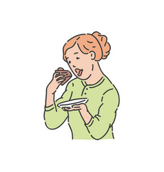 redhead woman eat piece of cake vector image
